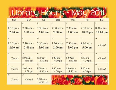 May 2011 Extended Library Hours