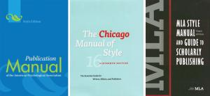 Covers of APA, Chicago, and MLA style guides